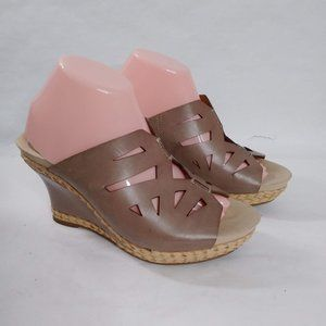 Earthies Setina Taupe Leather Open Back Wedges 9B